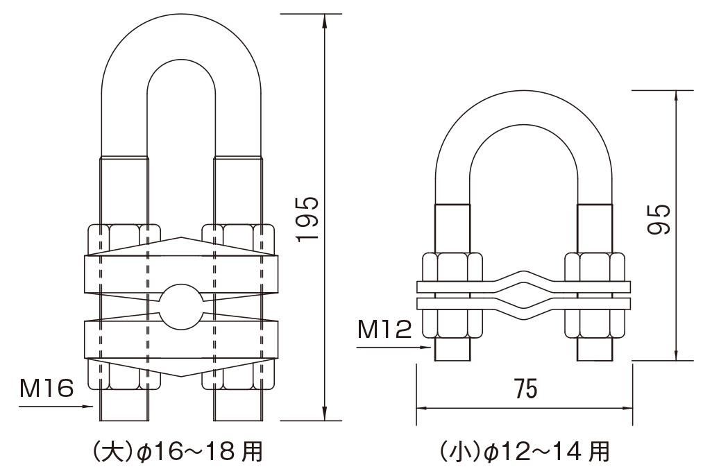 三方クリップ[JIS G 3101]( 溶融亜鉛めっき )